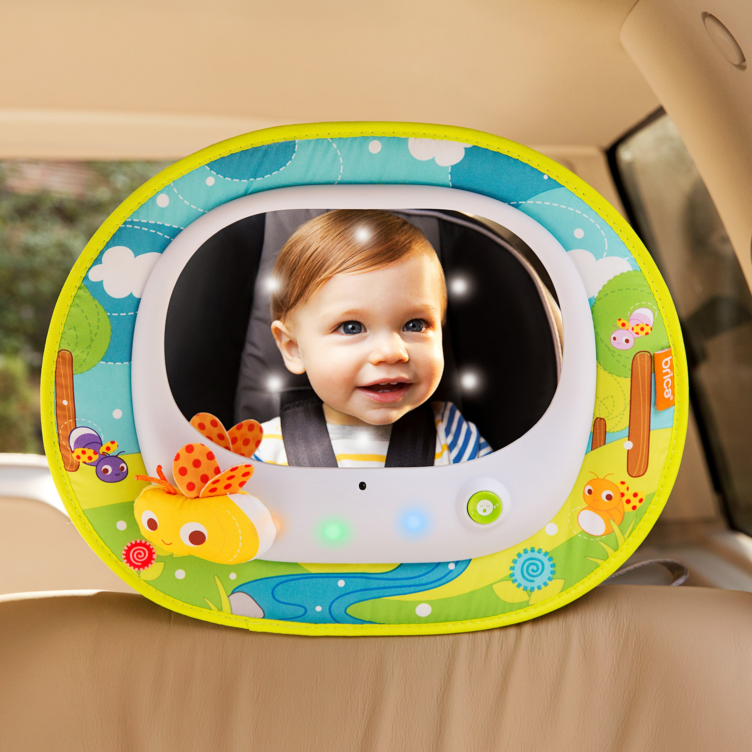 Brica Firefly Baby In Sight Rear Facing Car Seat Mirror Has A Very Unique Touch To It First Of All This Is Covered Colorful And Sweet